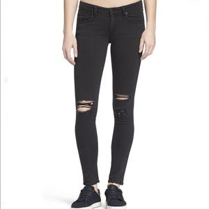 Rag & Bone Black Distressed Legging Jeans - 25